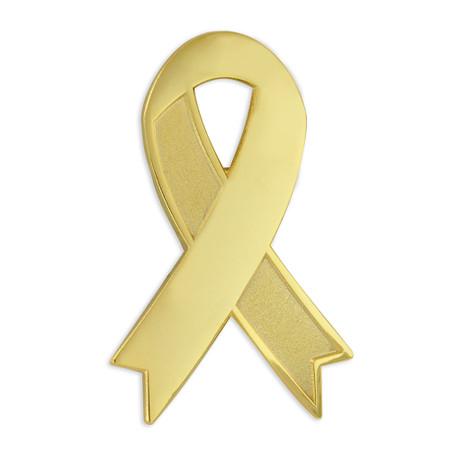 Gold Engravable Awareness Ribbon Pin Front