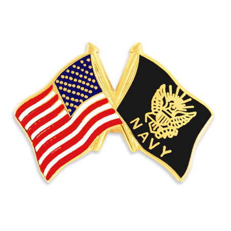Officially Licensed U.S.A. and Navy Crossed Flag Pin Front