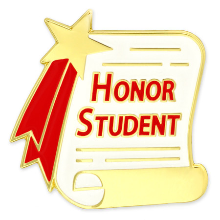 Honor Student Scroll Pin Front
