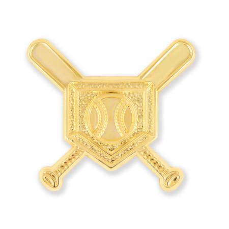 Baseball Cross Bats Chenille Pin Front