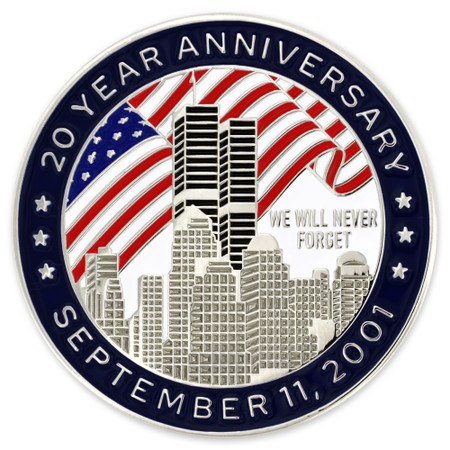 September 11th 20 Year Anniversary Pin Front