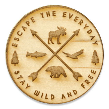 Escape The Everyday Wood Pin Front