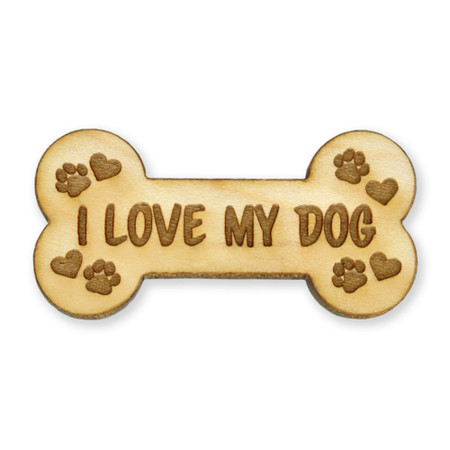 I Love My Dog Wood Pin Front