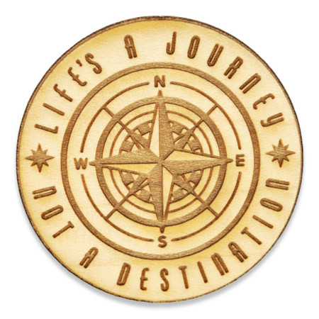 Life Is A Journey Wood Pin Front
