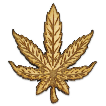 Marijuana Leaf Wood Pin Front