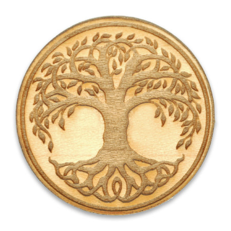 Tree of Life Wood Pin Front