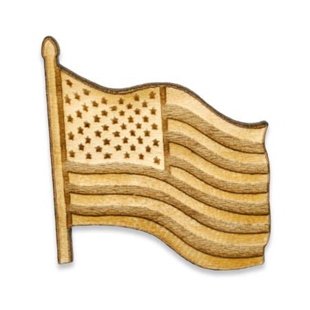 Waving American Flag Wood Pin Front