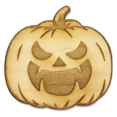 Jack-O-Lantern Wood Pin Front