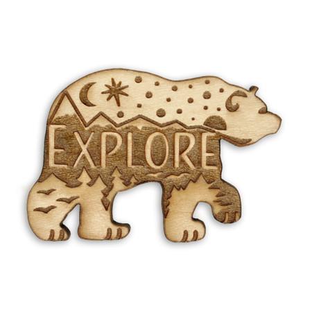 Explore Bear Wood Pin Front