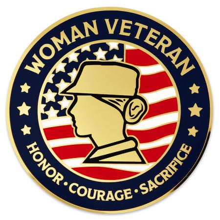 Female Veteran Coin Engravable Front