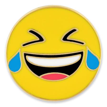 Crying Laughing Emoji Pin Front