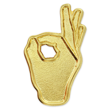 OK Hand Sign Pin Front