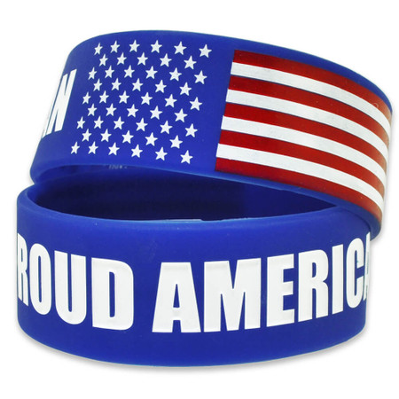 Proud American Rubber Bracelet 1 Inch Wide Front and Back