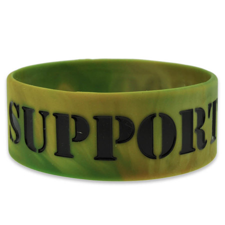 Support Our Troops Rubber Bracelet 1 Inch Wide Front