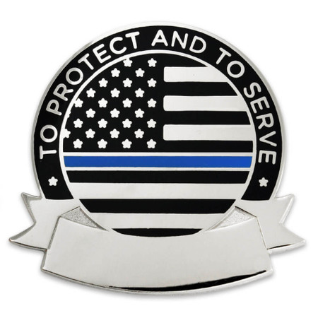 Engravable Thin Blue Line Pin Front