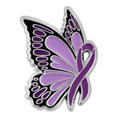 Purple Ribbon Butterfly Pin Front