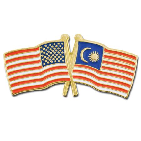 USA and Malaysia Flag Pin Front