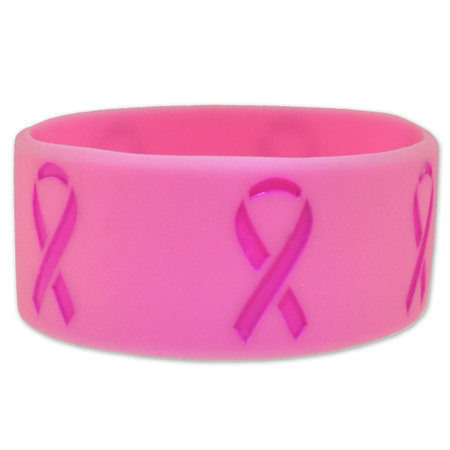 Breast Cancer Pink on Pink Rubber Bracelet 1 Inch Wide