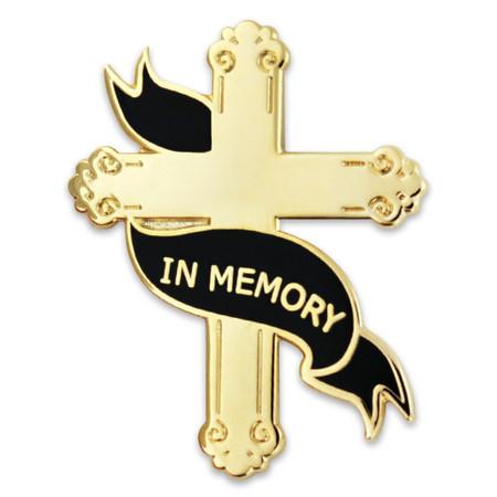 Engravable Memorial Cross Pin Front
