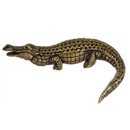 Alligator Pin - Antique Gold Front