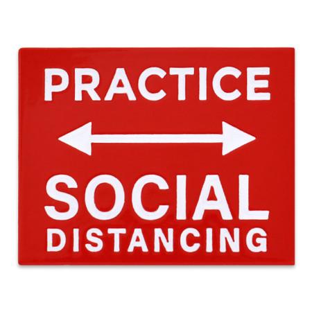 Practice Social Distancing Lapel Pin Front