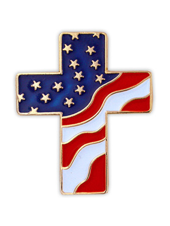 American Flag Cross Pin Front