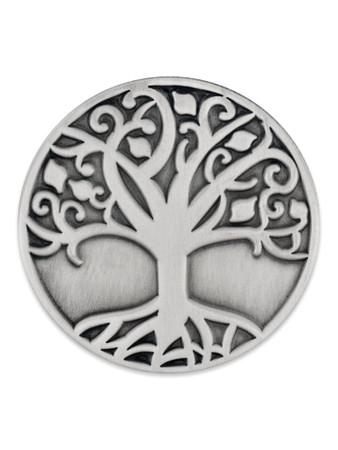 Tree of Life Pin Silver Front