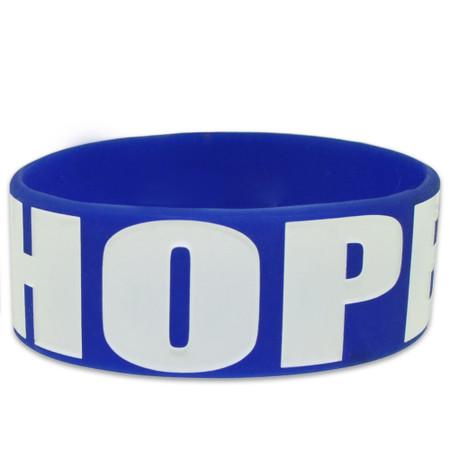 Blue Hope Rubber Bracelet Front