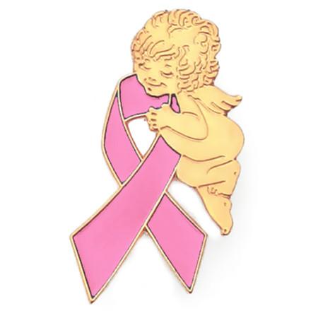 Pink Ribbon Angel Pin