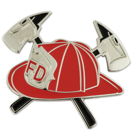 Red Fireman Hat with Crossed Axes Pin