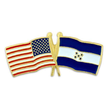 USA and Honduras Flag Pin Front