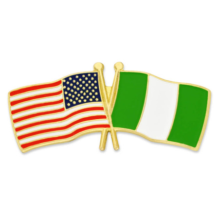 USA and Nigeria Flag Pin Front