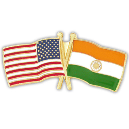 USA and India Flag Pin Front