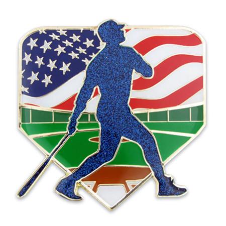 Baseball Patriotic Pin Front