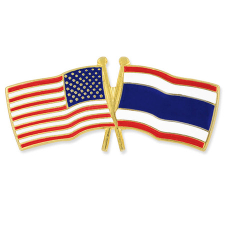 USA and Thailand Flag Pin Front