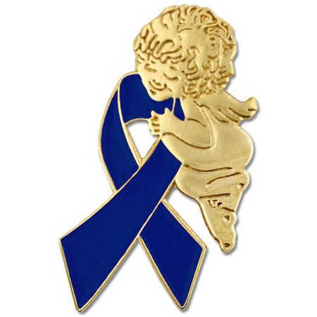 Blue Ribbon Angel Pin Front