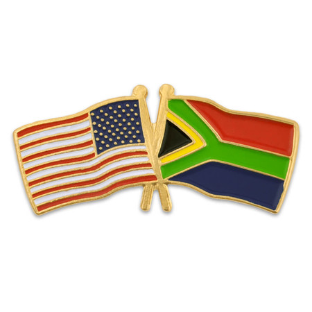 USA and South Africa Flag Pin Front