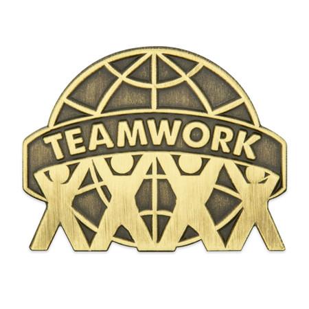 Antique Gold Teamwork Pin Front