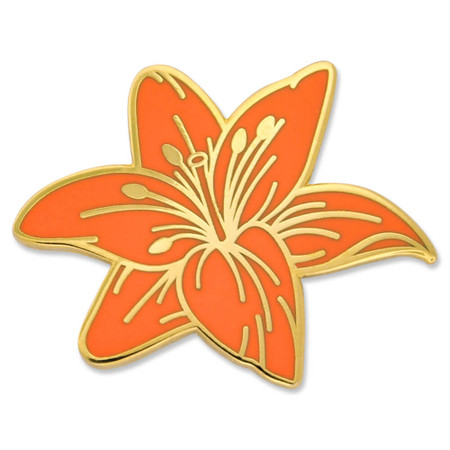 Tiger Lily Flower Pin Front
