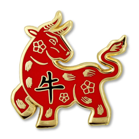 Chinese Zodiac Pin - Year of the Ox Front