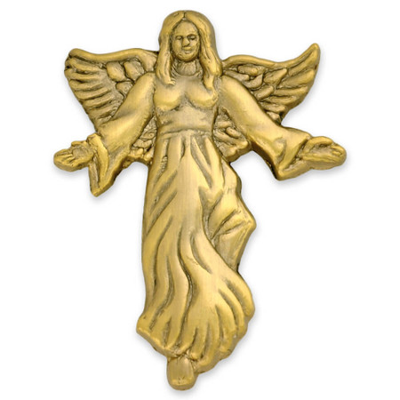 Angel with Flowing Dress Pin Gold