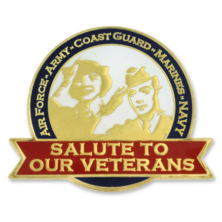 Salute Our Veterans Pin with Magnetic Back Front