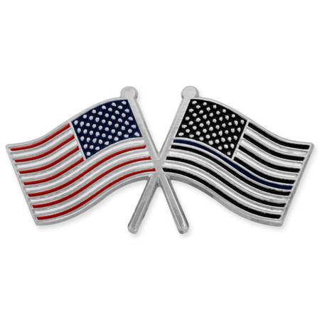 Thin Blue Line USA Crossed Flag Pin