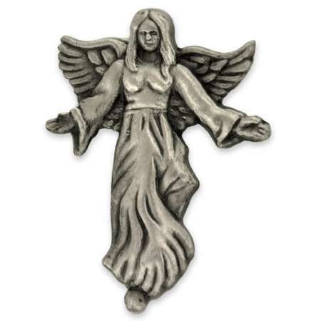 Angel with Flowing Dress Pin Silver