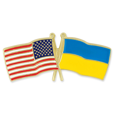 USA and Ukraine Flag Pin Front