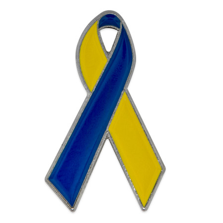 Blue and Yellow Down Syndrome Awareness Ribbon Pin Front