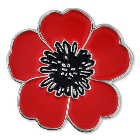 Poppy Flower Pin with Magnetic Back Front