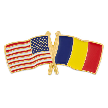USA and Romania Flag Pin Front