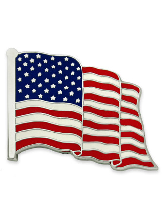 Made in America Nickel Plated U.S.A. Flag Pin
