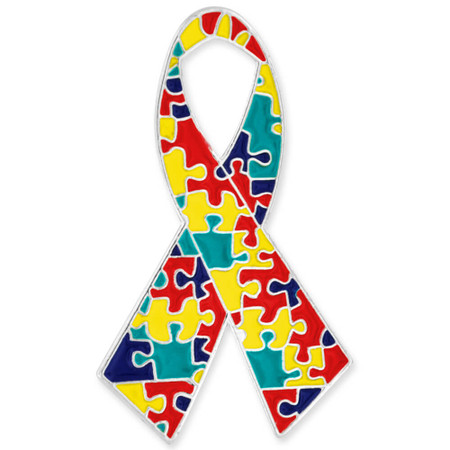 Autism Ribbon Pin Front